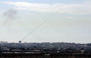 English: A Qassam rocket fired from a civilian...