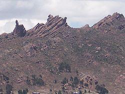 Erosão eólica, rochas metamórficas nos arredores de Puno