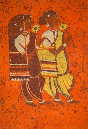 Batik painting depicting two Indian women