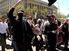 Integrantes de un grupo anarquista en la ciudad de Washington D.C.