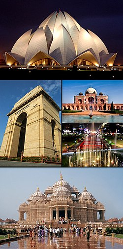 From top clockwise: Lotus temple, Humayun's Tomb, Connaught Place, Akshardham temple and India Gate
