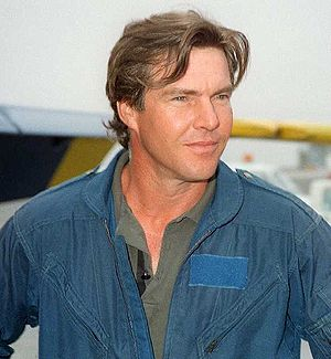 English: Actor Dennis Quaid prepares for a VIP...