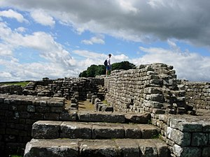 The remains of a fort on Hadrian's Wall near H...