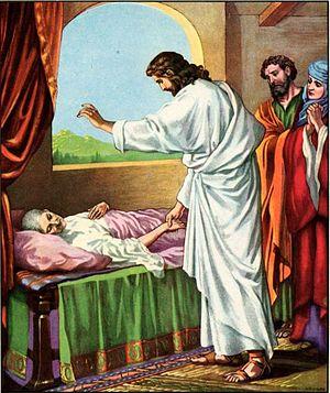 anonymous illustration of Jesus healing Peter'...