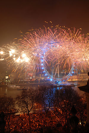 English: New Year fireworks at the London Eye