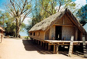 English: A longhouse in the Mnong village of B...