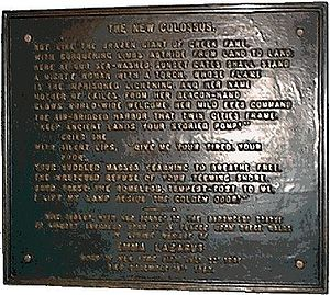The plaque at the Statue of Liberty