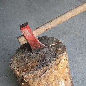 English: Axe splitting a log Italiano: Scure c...