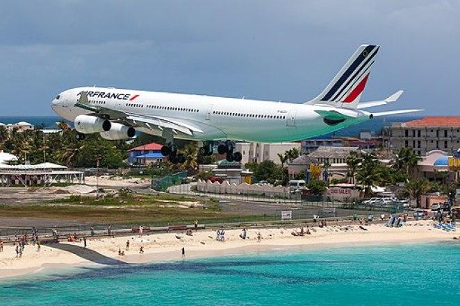 Air France Airbus A340-200 (F-GLZJ) on short finals at Princess Juliana Airport