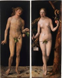 Adam et Ève, tableau d'Albrecht Dürer (209 × 81 & 209 × 83 cm) Museo del Prado.