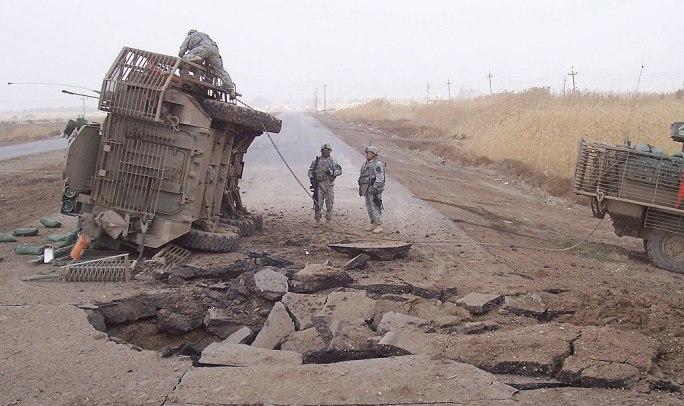 Buried IED blast in 2007 in Iraq