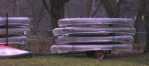 An elderly canoe trailer near Nashville, Michi...