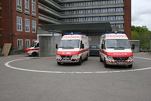 Three Falck ambulances at the emergency depart...