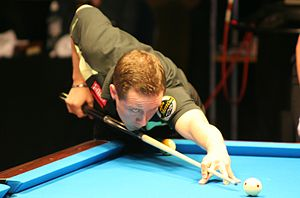 Finish pool player Mika Immonen at the Mosconi...