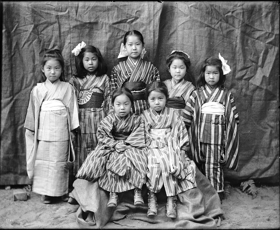 FilePortrait Of Seven Young Japanese Girls Wearing