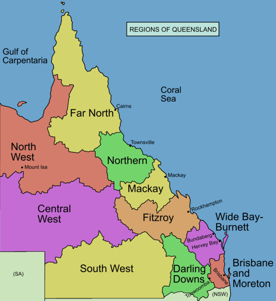 Commonly designated regions of Queensland