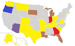 English: map of voter id laws for 2008 election