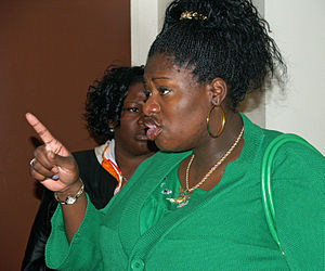 English: A woman pointing her finger in New Yo...