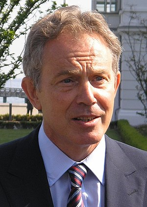 British Prime Minister Tony Blair at a news-co...