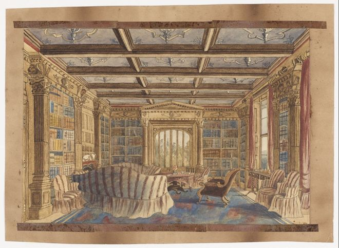 Charlotte Bosanquet - The Library at Dingestow - Google Art Project