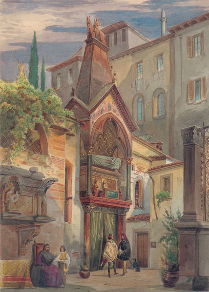 La tomba di Cangrande in un dipinto ottocentesco di Eduard Gerhardt