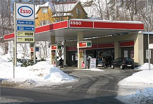 An Esso gas station in Stabekk, Norway.