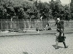 Pedestrians walking past bodies of starved peasants on a street in Kharkiv, 1933.