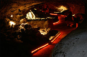 Illuminated lava tube at Lava_Beds_National_Mo...