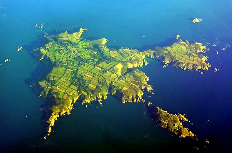 English: An aerial view of Sark.