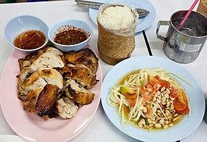 Som Tam (papaya salad), Kai Yang (grilled chic...