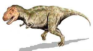 Tyrannosaurus rex, a theropod from the Late Cr...