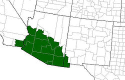Bufo alvarius United States range map (the toad also lives in northwest Mexico).