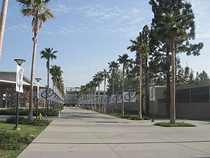 The path leading to the parking structure at C...