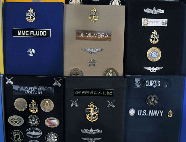 File Charge Books Of U S Navy Chief Petty Officer Selectees Sit On Display Before A Pinning