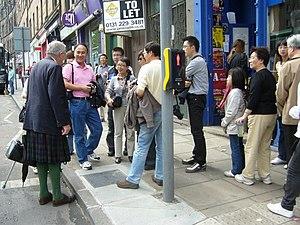 English: Chinese spot man in kilt, Brunstfield...