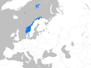 English: Location map of Norway within Europe
