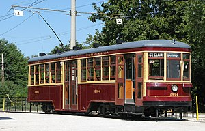 A Peter Witt streetcar in the 1921 livery of t...