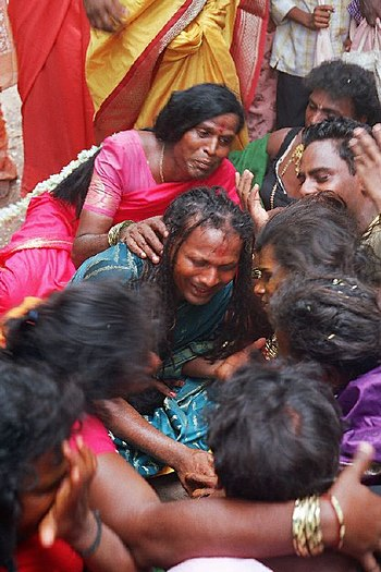 English: Widowed hijras lament Koothandavar's ...