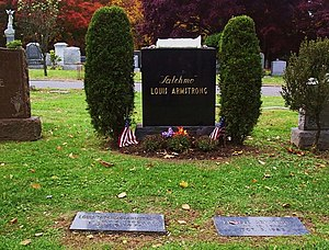 "Gravestone and tomb of jazz great Louis ""..."