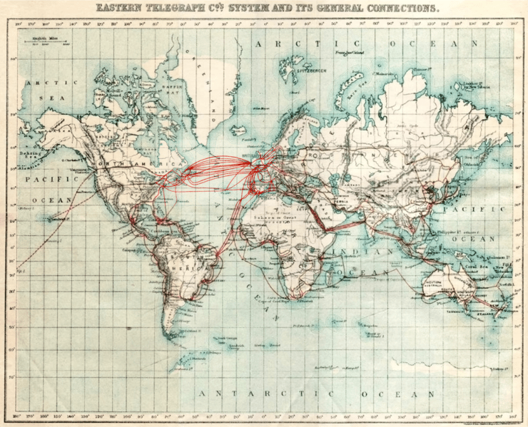 Eastern Telegraph Company 1901 chart of undersea telegraph cabling, an example of modern globalizing technology in the beginning of the 20th century.