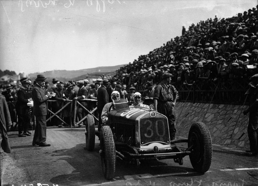 Achille Varzi in his Alfa Romeo at the 1930 Targa Florio