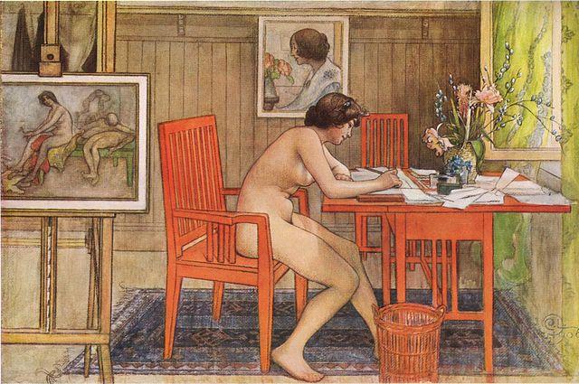 Modellen skriver vykort door Carl Larsson via Wikimedia Commons