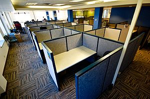 Cubicles in a now-defunct co-working space in ...