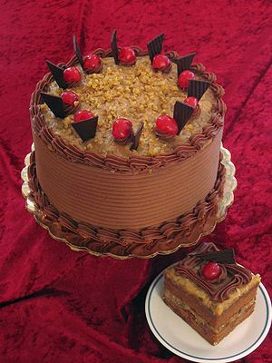 German chocolate cake from a bakery