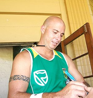 Herschelle Gibbs at a training session at the ...