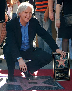 James Cameron at a ceremony to receive a star ...