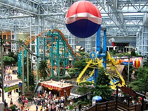 The amusement park at the center of the Mall o...