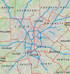 English: Metro Atlanta from Open Street Map
