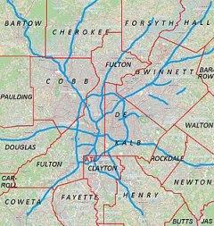English: Metro Atlanta from Open Street Map