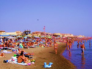 Beach Scene in Ostia, Rome